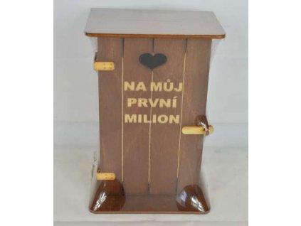 Pokladna kadibudka dřevěná tmavá s nápisem Na můj první milión