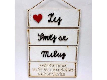 Dřevěná deska dělená bílá s 3D nápisem bílá s 3D nápisem Žíj, směj se