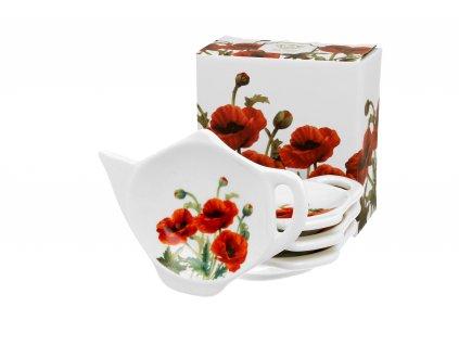 Porcelánový podčajník, dekor Vlčí mák classic