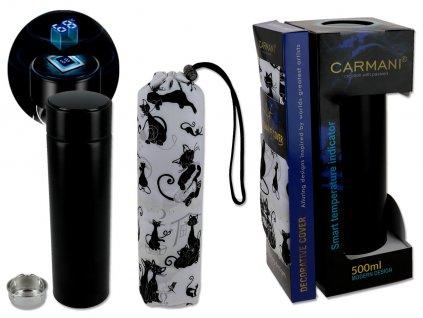Carmani Termoska s krytem a digitálním teploměrem, design kočičí svět 500 ml .