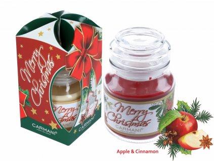 Vonná americká vánoční svíčka ve skle Jablko a skořice 335 g