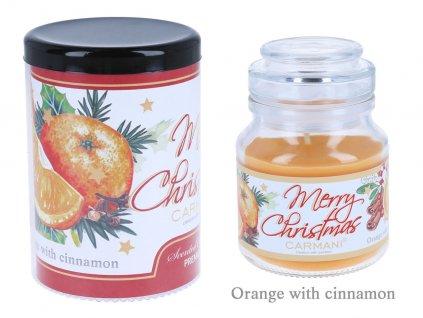 Vonná americká vánoční svíčka ve skle Pomeranč se skořicí 335 g .
