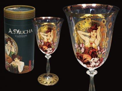 Sklenice na víno A. Mucha Gems, Amethyst v dárkovém balení
