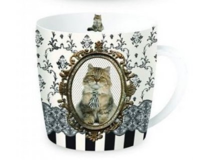 Porcelánový hrnek Kočka BAROKO v dárkové plechové dóze