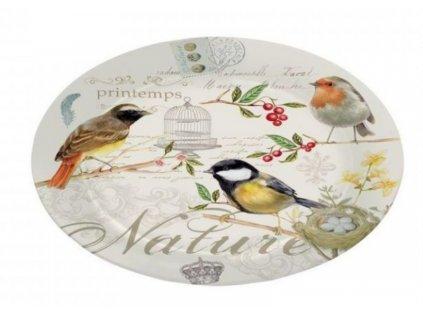 Skleněný talíř NOSTALGIE s ptáčky v dárkové krabičce