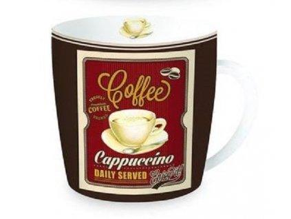 Porcelánový hrnek v plechové dóze HAPPY LIFE Coffe, Cappuccino