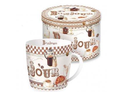 Porcelánový hrnek v plechové dóze HAPPY LIFE Coffe, Bonjour