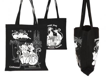 Nákupní taška Kočičí svět látková, černá