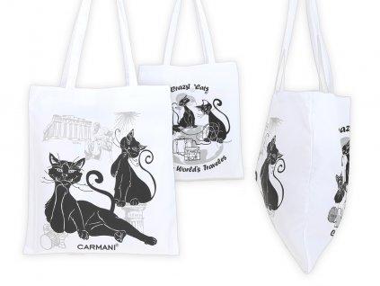 Nákupní taška Kočičí svět látková, bílá