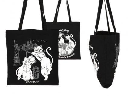 Nákupní taška Kočičí svět látková, černá I