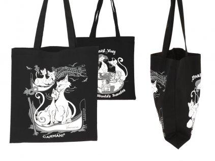 Nákupní taška Kočičí svět látková, černá II