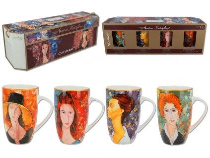 Sada 4 hrnků A. Modigliani v dárkovém balení