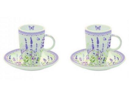 Sada porcelánových šálků s podšálkem LAVENDER FIELD na espresso