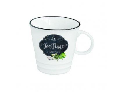 Porcelánový šálek a podšálek na čaj Kitchen Basic