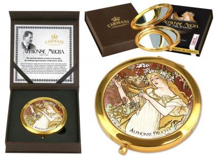 Carmani Kosmetické zrcátko Alfons Mucha Čtyři roční období JARO 7 cm