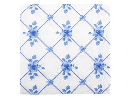 Papírové ubrousky, Modré květy