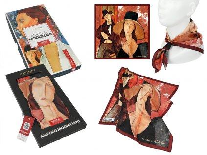 Šátek A. Modigliani, Woman in a hat and Mario Varvogli v dárkovém balení