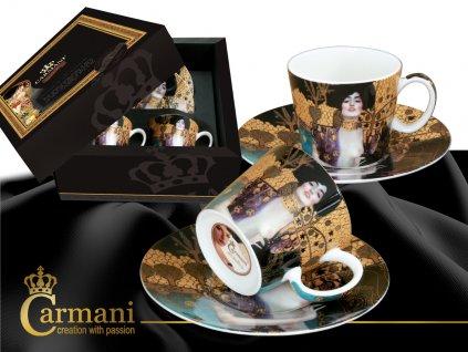 Porcelánové šálky s podšálkem G. Klimt, Judith a Holopherne na espresso v dárkové krabičce