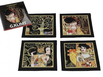 Sada 4 látkových podložek po hrníčky a skleničky, dekor G. Klimt ...