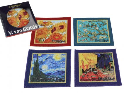 Sada 4 látkových podložek po hrníčky a skleničky, dekor V. van Gogh