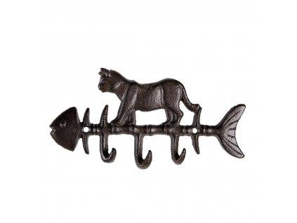 Nástěnný kovový věšák KOČKA na rybě