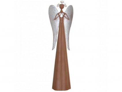 Kovový anděl se stříbrnými křídly velký