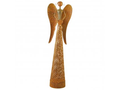 Rezavý kovový anděl se světýlky malý /13*8*43,5 cm/