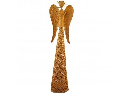 Rezavý kovový anděl se světýlky střední /13*10*48 cm/