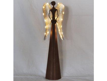 Hnědý kovový anděl se světýlky velký