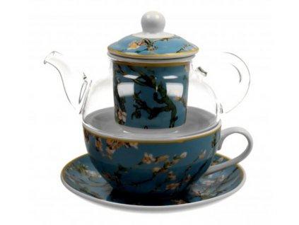 Porcelánový šálek se skleněnou konvičkou a podšálkem v dárkové krabičce V. van Gogh Mandlový květ 255 ml, 330 ml