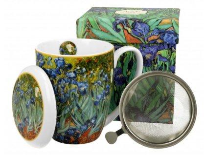 Porcelánový hrnek se sítkem a víčkem V. van Gogh IRISES v dárkové krabičce 380 ml