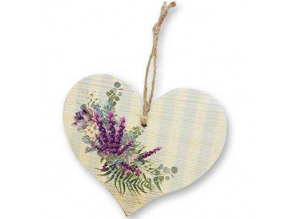 Bohemia Gifts Dekorativní dřevěné srdce 13 cm - levandule