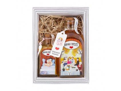 Domácí štěstí kosmetická sada - argan /sprchový gel a sůl do koupele s obrázky od ilustrátorky paní Ivy Hüttnerové/