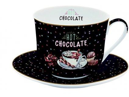 Easy Life - Porcelánový hrnek s podšálkem Hot Chocolate - 400 ml
