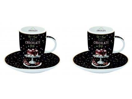 Easy Life - Sada porcelánových hrnků s podšálkem Hot Chocolate - 2 *50 ml