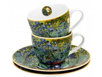 Porcelánové šálky s podšálky na espresso V. van Gogh Irises v dárkové krabičce
