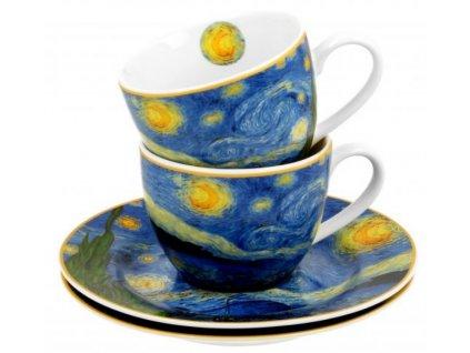 Porcelánové šálky s podšálky na espresso V. van Gogh STARRY NIGHT v dárkové krabičce