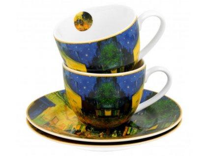 Porcelánové šálky s podšálky na espresso V. van Gogh TERASA V NOCI v dárkové krabičce
