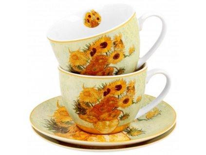 Porcelánové šálky s podšálkyV. van Gogh SUNFLOWERS v dárkové krabičce