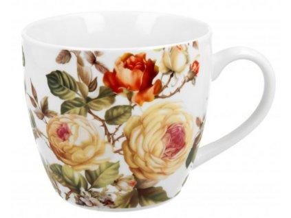 Porcelánový snídaňový hrnek ZAHRA, Růže v přebalu 460 ml