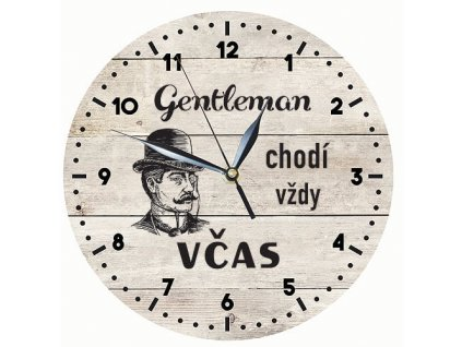 Dřevěné hodiny 24 cm - Gentleman chodí včas