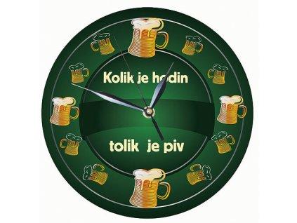 Dřevěné hodiny 24 cm - Kolik je hodin tolik je piv