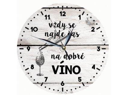 Dřevěné hodiny 24 cm - čas na víno - Vždy je čas na víno