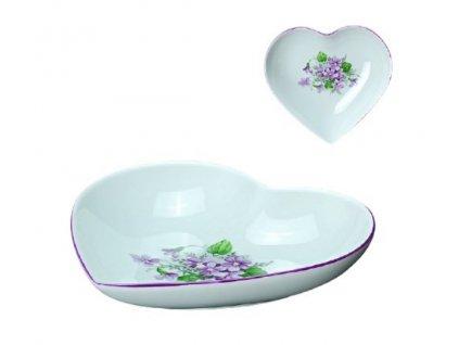 Porcelánová miska ve tvaru srdce FIALKY - 16*15,5 cm