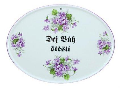 Porcelánové boží požehnání na zavěšení FIALKY - 24,5*18 cm