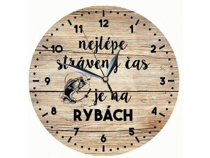 Bohemia Gifts Dřevěné hodiny 24 cm pro rybáře - čas na ryby