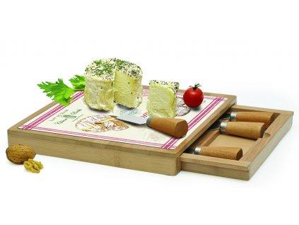 Skleněné prkénko v bambusovém rámu s noži na sýry Fromage