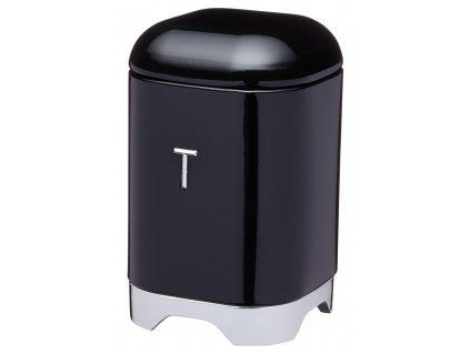 Kitchen Craft - Plechová dóza na čaj Lovello černá /11*18 cm/