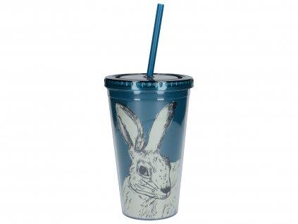 Creative Tops - Dvouplášťový cestovní pohárek s brčkem Hare /10*10*15,7 cm/