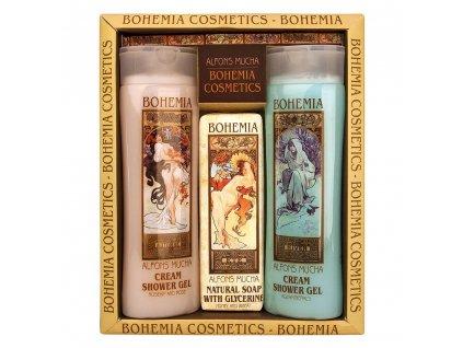 Bohemia Gifts Kosmetická sada Mucha Art nouveau - 2x gel a mýdlo no. 1